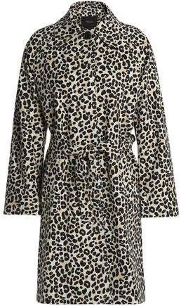 Maje Guillaume Leopard-print Cotton-blend Trench Coat