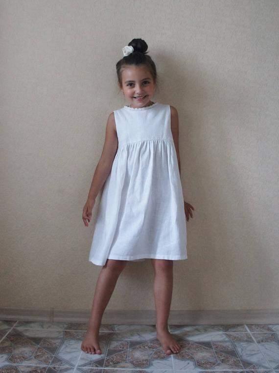 Linen dress, Linen girl dress, Bridesmaid Girl Dress, Communion Dress, Flower girls dress, Flower dress, Flower linen dress