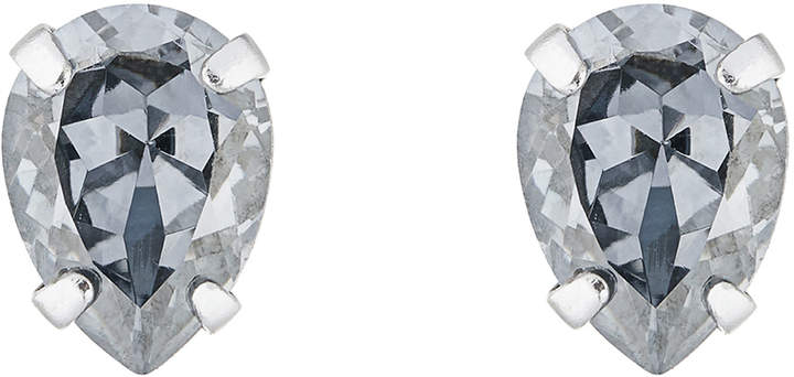 Sterling Silver Teardrop Stud Earrings With Swarovski® Crystals