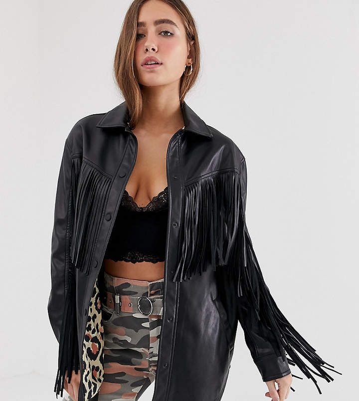 Bershka longline fringed jacket in black