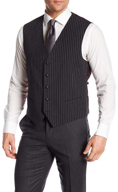 John Varvatos Collection Striped Vest