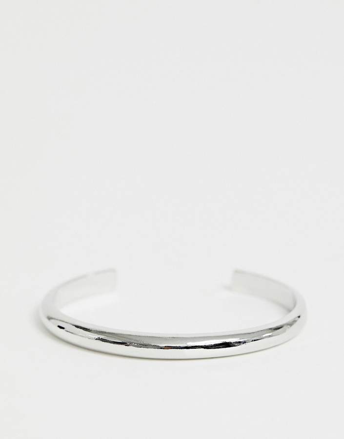 Asos Design ASOS DESIGN cuff bracelet in sleek minimal design in silver