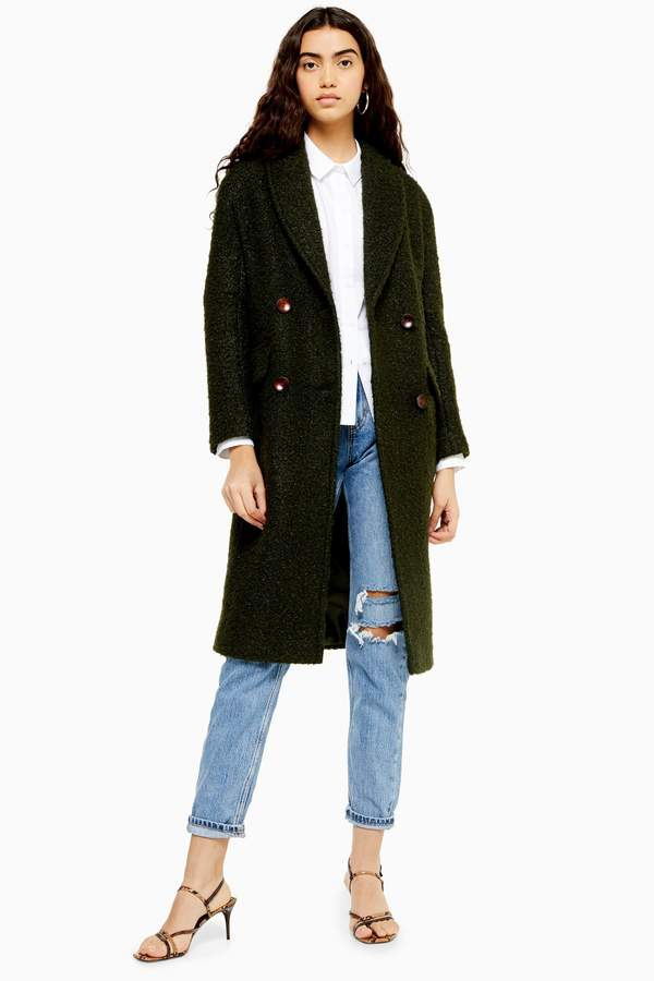 Topshop Womens Khaki Boucle Coat - Khaki