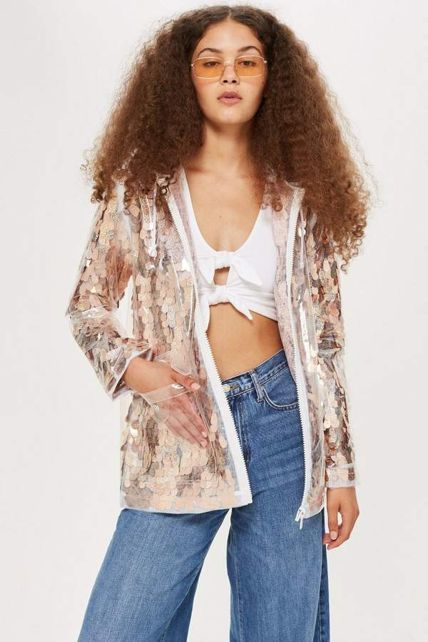 Topshop Sequin Rain Mac