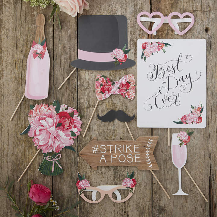 Ginger Ray Boho Floral Design Wedding Photo Booth Props Kit