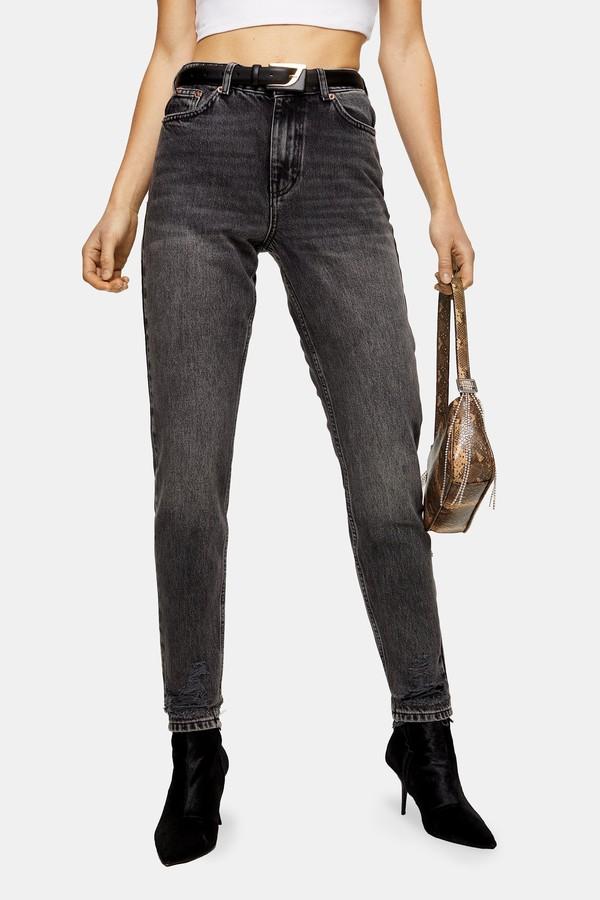 Topshop Womens Washed Black Rip Hem Mom Jeans - Washed Black