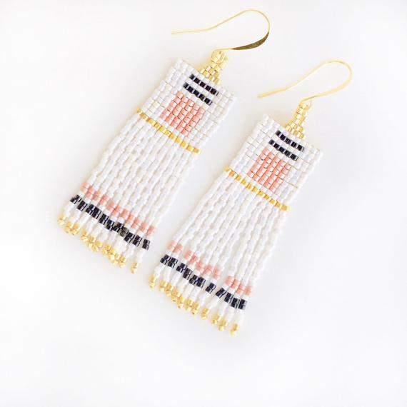 Boho Seed Bead Earrings, Tassel Earrings, Beaded Fringe Earrings, Minimalist Beaded Earrings, Statement Beaded Earrings, Gold, White, Pink,