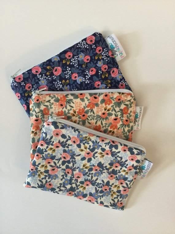 Reusable Snack Bag, Reusable Zipper Bag, Reusable Sandwich Bag, Zipper Pouch, Floral Snack Bag, Lunch Bag, Reusable Bag, Rifle Paper Co
