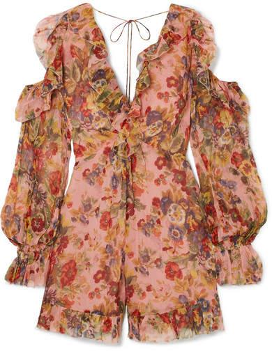 Zimmermann - Lovelorn Cold-shoulder Ruffled Floral-print Silk-georgette Playsuit - Antique rose