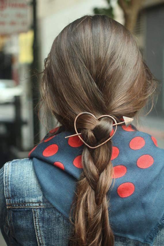 Heart hair barrette brass hair clip bridal hair jewelry bridal hair clip copper hair slide love jewelry minimalist hair accessories for her