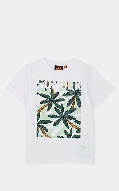 Sundek Kids' Palm-Tree-Print Cotton T-Shirt - White