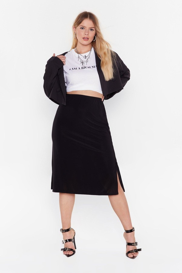Nasty Gal Womens Be Side Me Slit Jersey Skirt - Black - 16