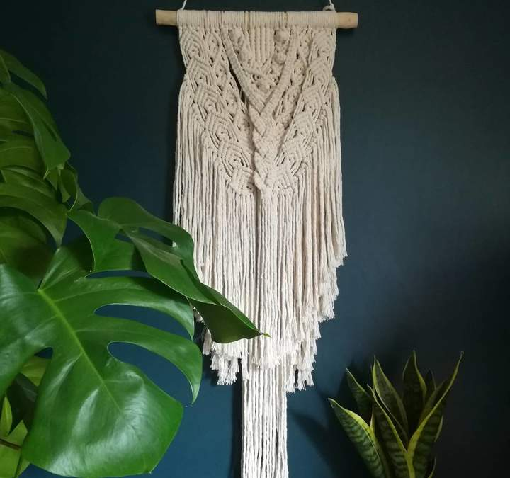 Fringe & Fray Macrame Wall Hanging Boho Vibe Handmade
