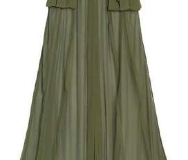 Com  C B Balmain Crepe Trimmed Silk Chiffon Maxi Skirt