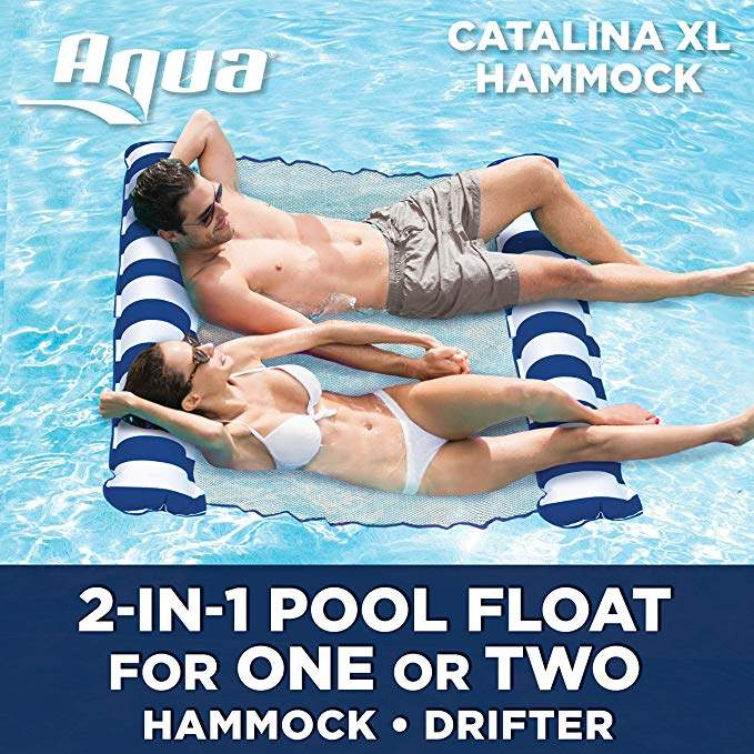 Aqua Catalina XL Hammock, 4-in-1 Multi-Purpose Inflatable 1-2 Person Pool Float, Water Lounge, Navy/White Stripe
