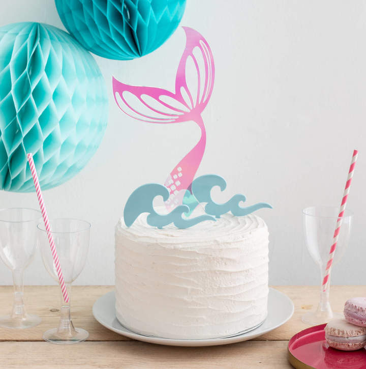 Funky Laser Iridescent Mermaid Tail And Waves Party Cake Topper Set