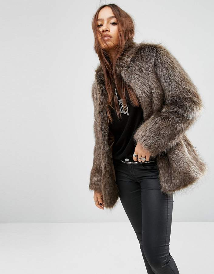 Asos Design ASOS Jacket in Vintage Style Faux Fur