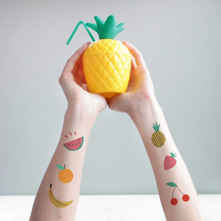 Postbox Party Tropical Fruit Temporary Tattoos