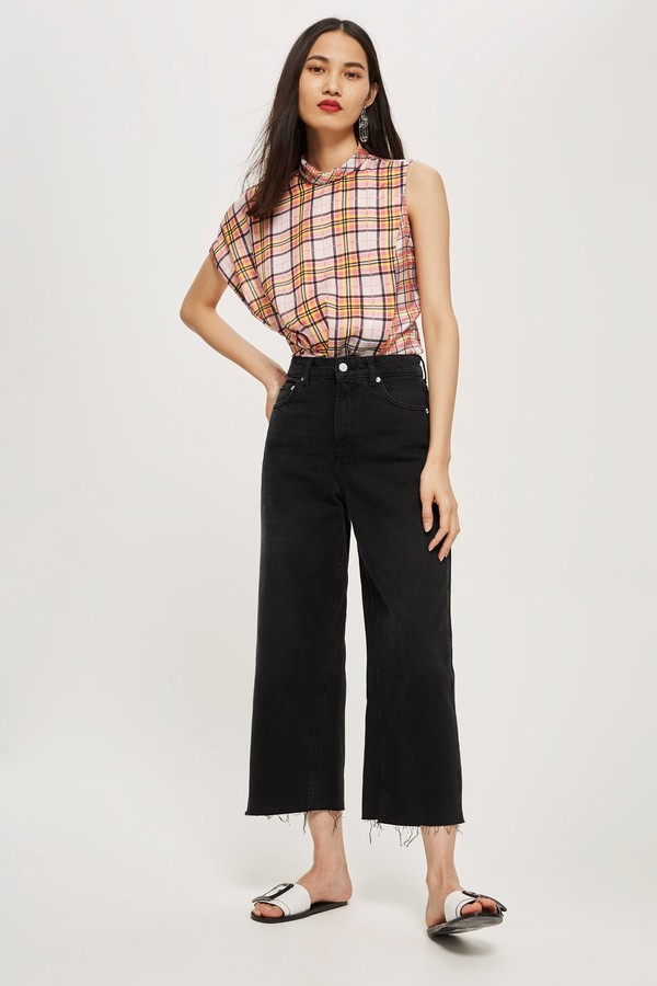 Topshop Womens Washed Black Cropped Wide Leg Jeans - Washed Black