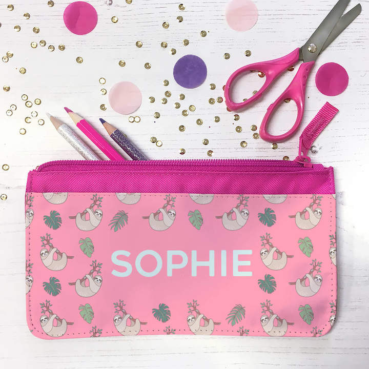 The Little Picture Company Personalised Tropical Sloths Fabric Pencil Case