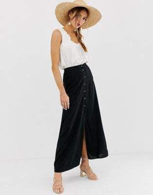 ASOS DESIGN button front maxi skirt