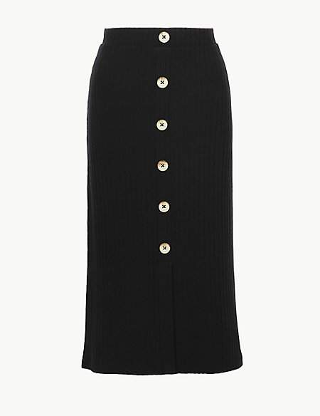 M&S Collection Textured Jersey Pencil Midi Skirt
