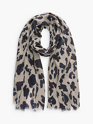 Mint Velvet Leopard Print Scarf, Camel