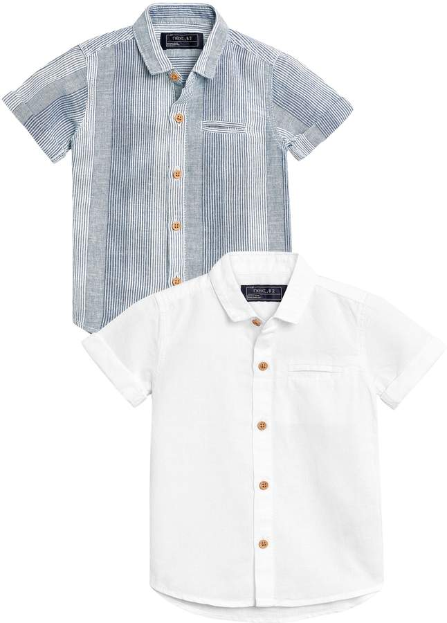 Boys Next Blue/White Short Sleeve Linen Rich Shirts Two Pack (3mths-6yrs)