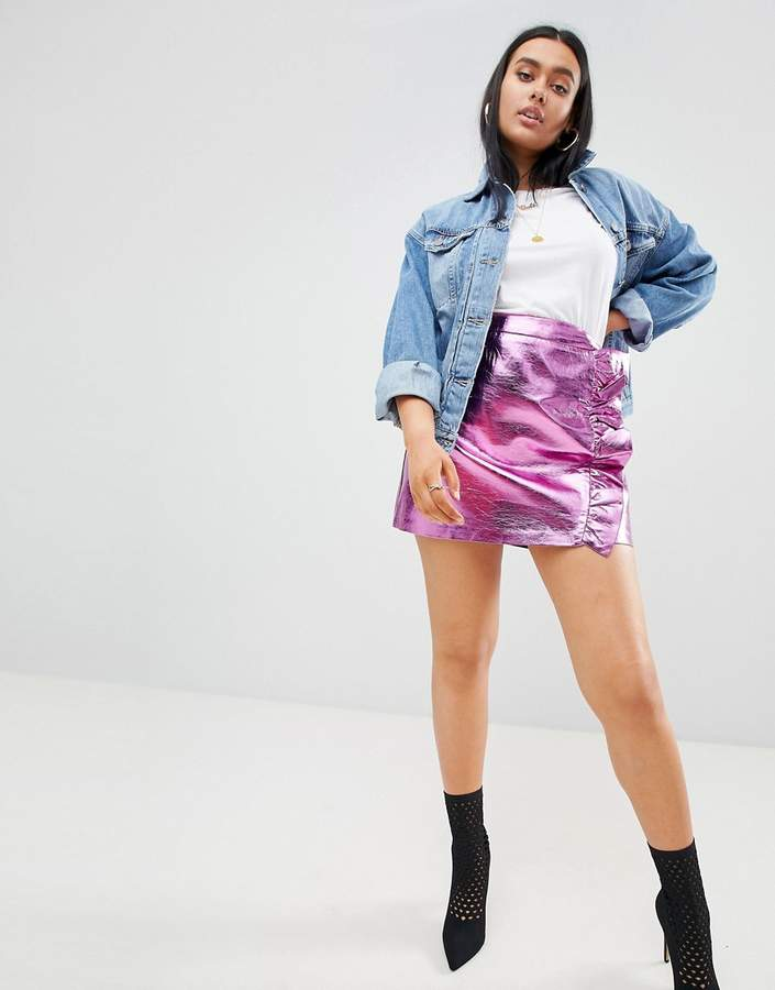 PrettyLittleThing Frill Front Leather Look Skirt