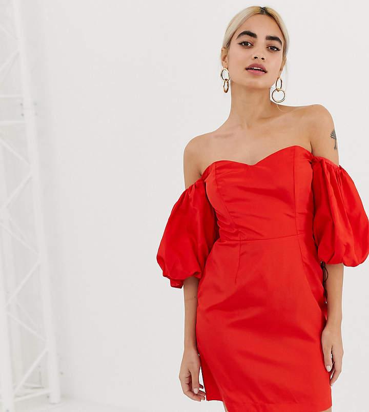 Miss Selfridge Petite Bardot Puff Sleeve Dress