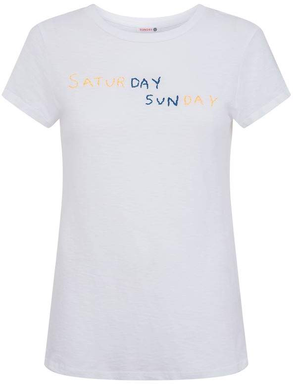 Sundry Saturday and Sunday Embroidered T-Shirt