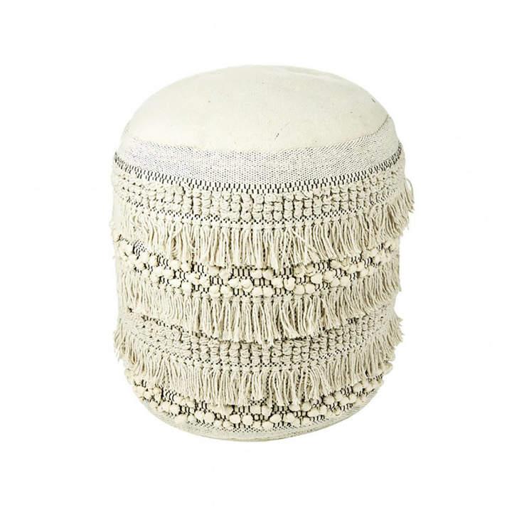 Primrose & Plum Textured Natural Tassel Pouffe
