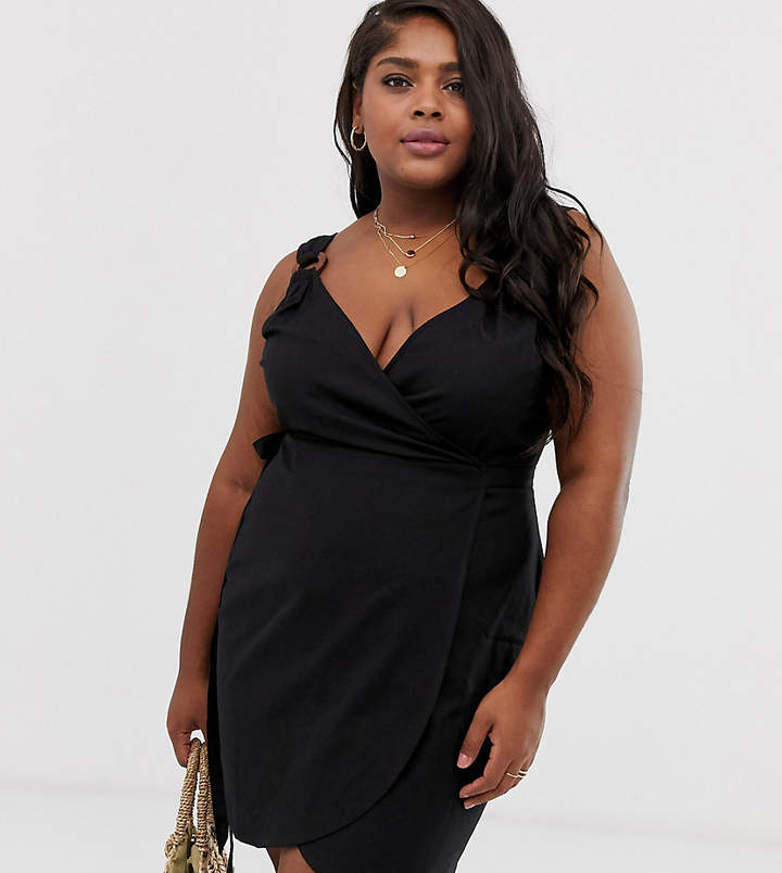 Asos Curve ASOS DESIGN Curve linen wrap mini sundress with wooden rings