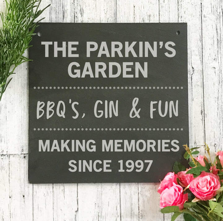 POM GIFTS Personalised Garden Engraved Slate Sign