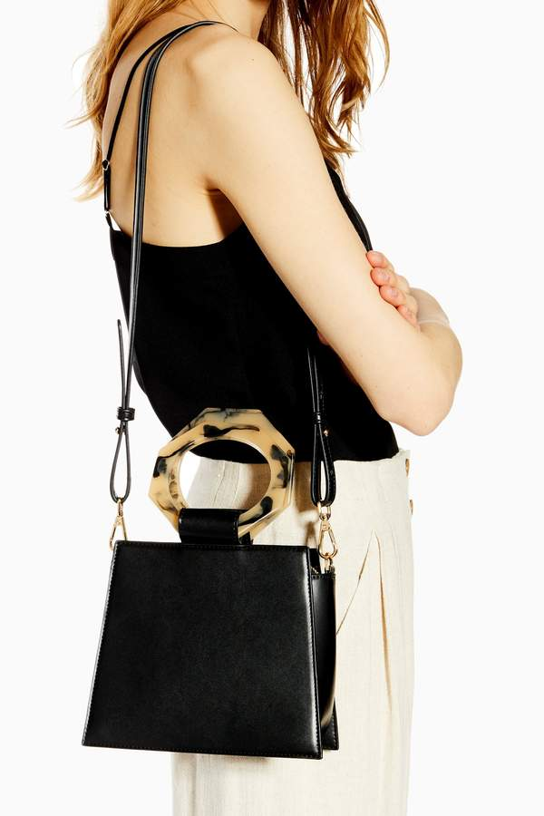Topshop Womens Harper Hexagon Handle Grab Bag - Black