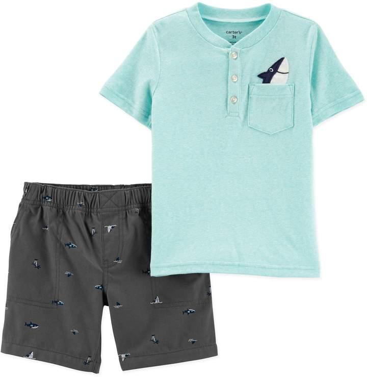 Carter'S carter's& 2-Piece Shark Henley Shirt and Short Set in Turquoise/Navy
