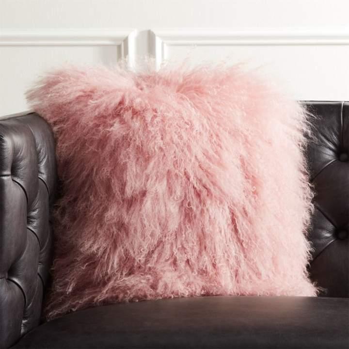 """16"""" Mongolian Sheepskin Pink Fur Pillow with Down-Alternative Insert"""