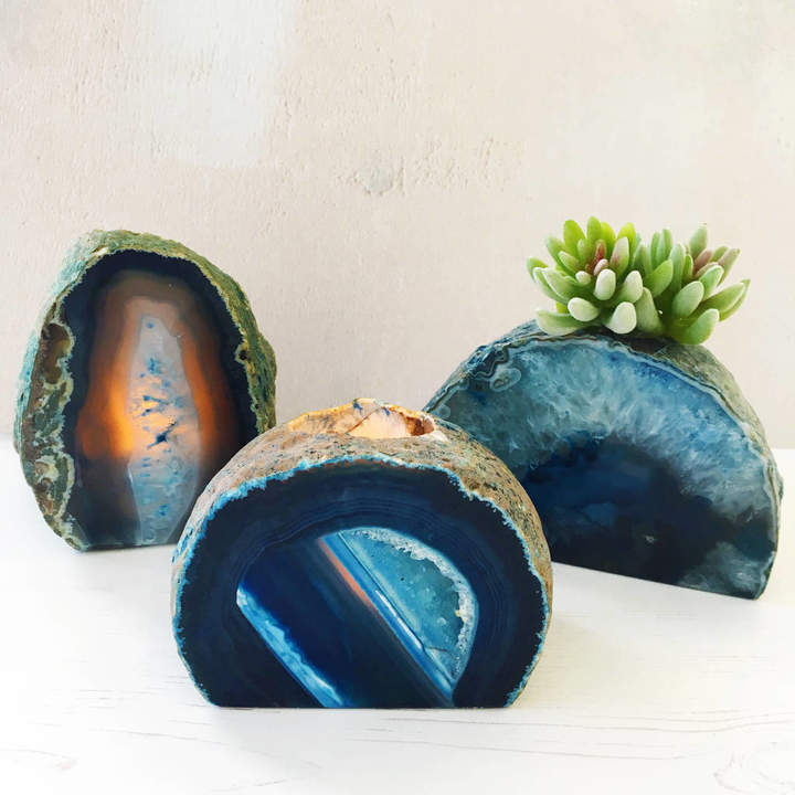 Eclectic Eccentricity Blue Agate Crystal Tealight Holder