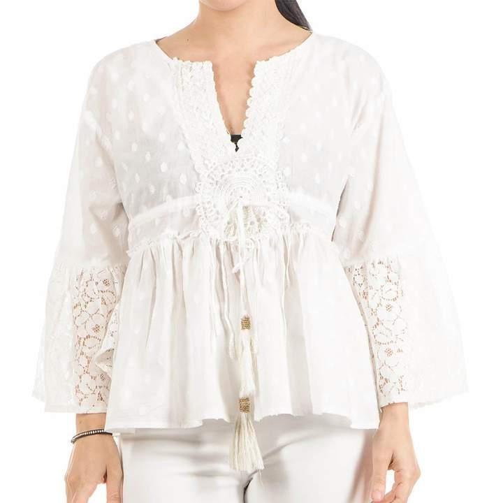 Black White Bell-Sleeved Cotton Boho Top