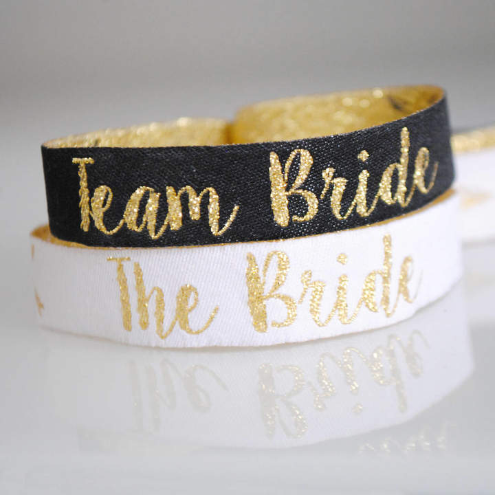 WEDFEST Team Bride Black And Gold Hen Party Wristbands