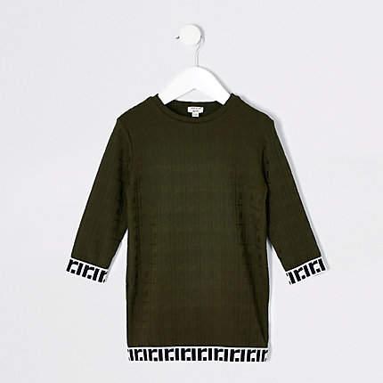 Mini girls Khaki jacquard T-shirt dress