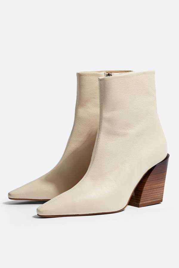 Topshop Womens Henley Leather Western Boots - Ivory