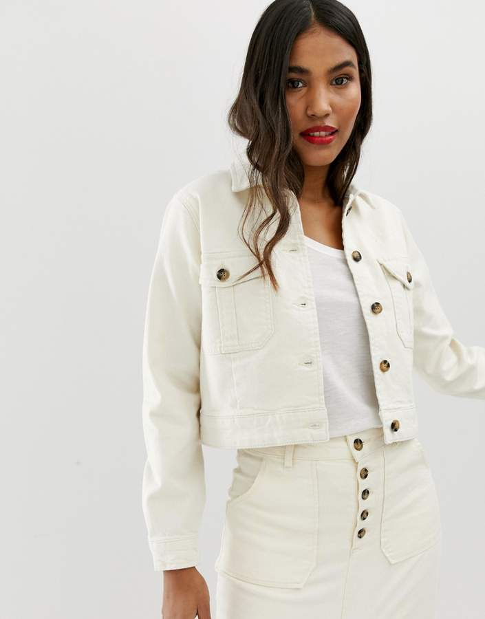 Asos Design ASOS DESIGN DENIM Premium utility jacket in off-white
