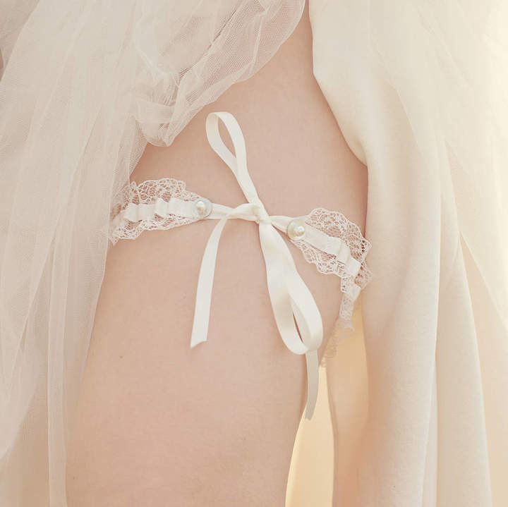 Silver Sixpence in her Shoe Tie Wedding Garter Gift For The Bride