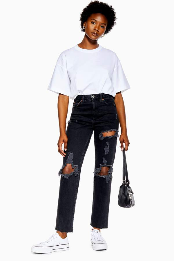 Topshop Womens Petite Washed Black Rip Straight Jeans - Washed Black