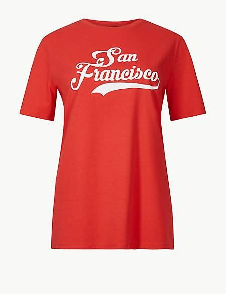 M&S Collection Pure Cotton San Fran Straight Fit T-Shirt