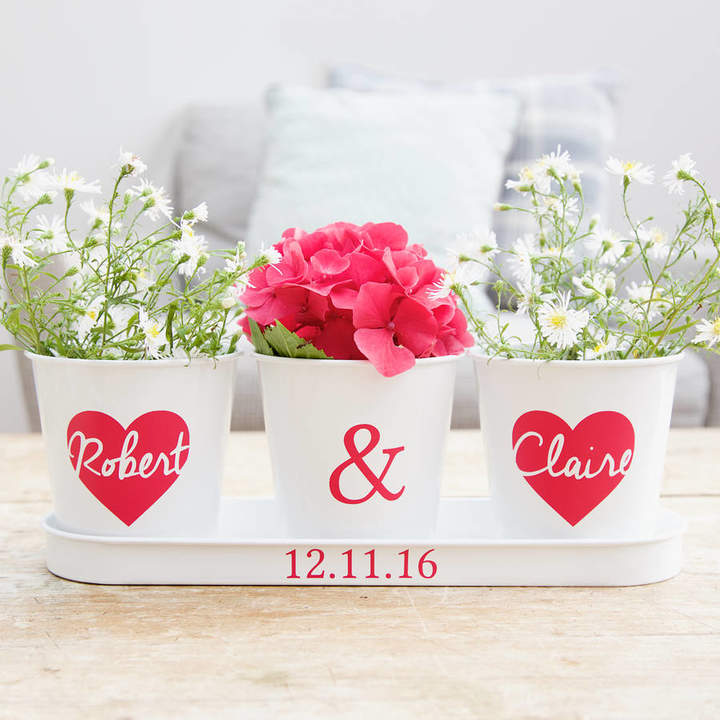 Jonny's Sister Personalised Heart Tray And Pots