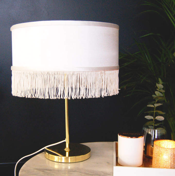 Made With Love Designs Ltd Fringed Gold Table Lamp Bedside Lamp