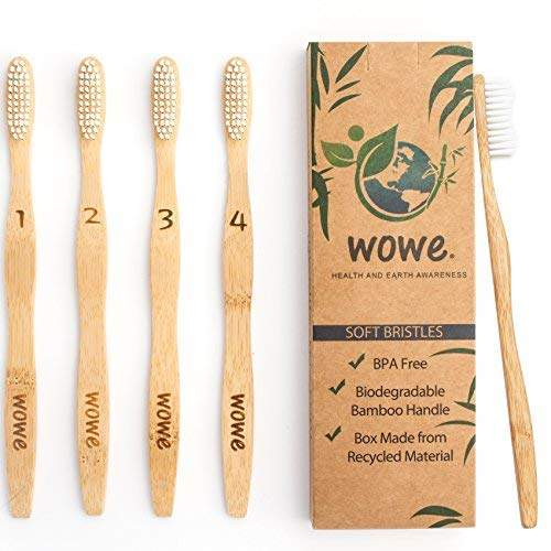 Wowe Natural Organic Bamboo Toothbrush Eco-Friendly Wood, Ergonomic, Soft BPA Free Bristles, Pack of 4