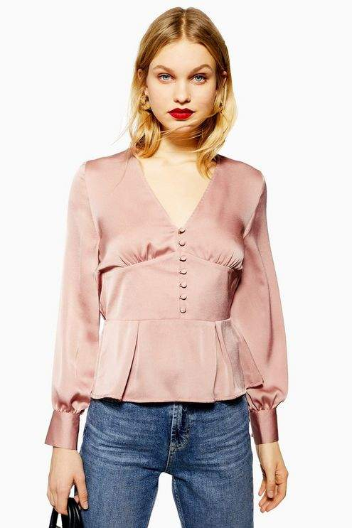 Topshop Womens Satin Button Blouse